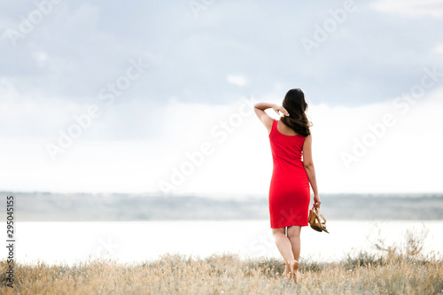 Fototapeta  Back view of young girl in a red dress near the lake