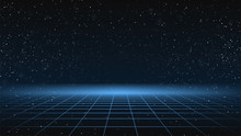 Synthwave Background. Dark Retro Futuristic Backdrop With Blue Perspective Grid And Sky Full Of Stars. Horizon Glow. Abstract Retrowave Template. 80s Vaporwave Style. Stock Vector Illustration