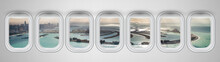 Airplane Interior With Window View Of Dubai Pam Jumeirah Island, UAE. Concept Of Travel And Air Transportation