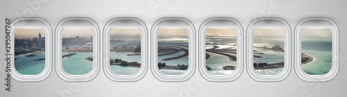 Airplane interior with window view of Dubai Pam Jumeirah Island, UAE Wallpaper Mural