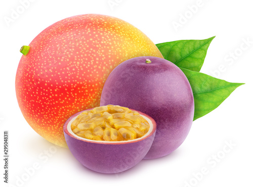 Composite image with with whole and halved exotic fruits - passionfruit and mango isolated on white background. As design element. - 295048311