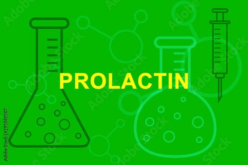 PRL Prolactin sign with medical beakers and syringe. Obraz na płótnie