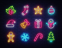 Christmas Neon Icons Set. Happy Christmas Collection Light Signs. Sign Boards, Light Banner. Xmas Neon Isolated Icons, Emblem, Design Template. Vector Illustration