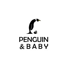 Penguin And Baby Logo Design Vector Template Negative Space Style.