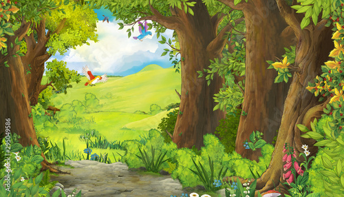cartoon summer scene with meadow in the forest with birds flying illustration fo Canvas Print