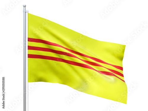 Obraz South Vietnam flag waving on white background, close up, isolated. 3D render - fototapety do salonu