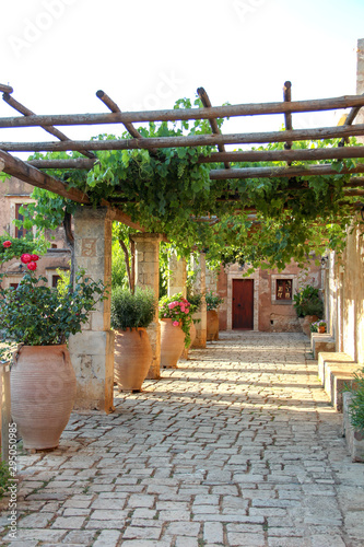Obraz na plátně Cozy courtyard of Arkadi monastery with vine trees and flowers in pots