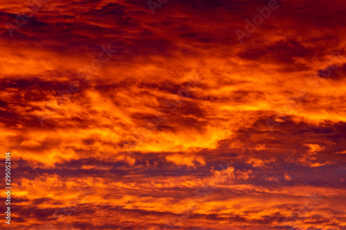 Fiery Sunset Clouds Background