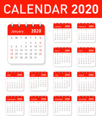 Calendar for 2020 year in clean minimal table simple style. Week Starts on Sunday. Set of 12 Months