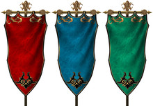 Set Of Three Ancient Medieval Banners Isolated On White Background