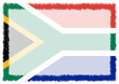 canvas print picture - Border made with South Africa national flag.