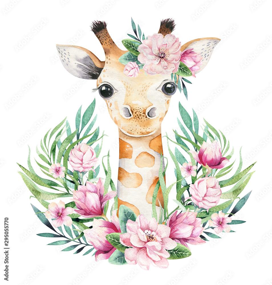 Plakat z małą żyrafą. Akwareli kreskówki żyrafetropical zwierzęca ilustracja. Egzotyczny letni nadruk w dżungli.