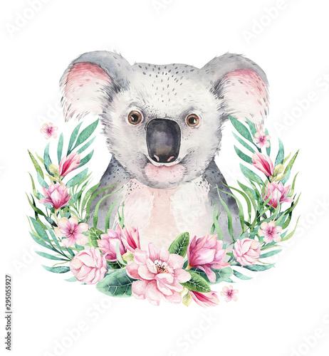 Naklejki koala  a-poster-with-a-koala-watercolor-cartoon-koala-tropical-animal-illustration-jungle-exotic-summer-print
