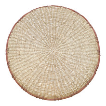 Straw Woven Round Hand Made Texture Isolated On White Background With Clipping Path