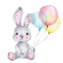 Cute Cartoon Little Bunny With...