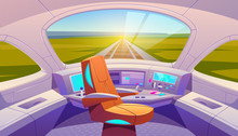 Train Cockpit With Control Panel And Armchair, Empty Railway Car Cabin With Electronic Dashboard, Buttons And Panoramic Windows With Rails And Summer Nature Landscape View. Cartoon Vector Illustration