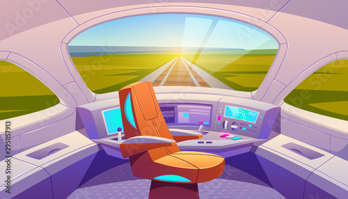 Leinwand Poster Train cockpit with control panel and armchair, empty railway car cabin with electronic dashboard, buttons and panoramic windows with rails and summer nature landscape view
