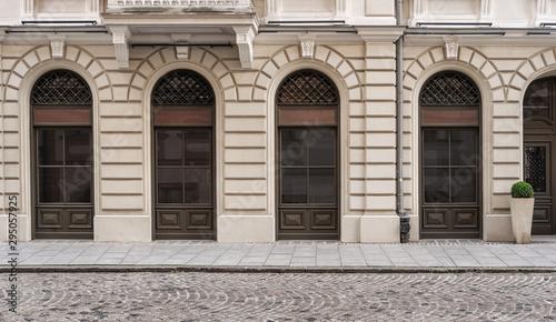 Obraz Old empty street background with copy space - fototapety do salonu