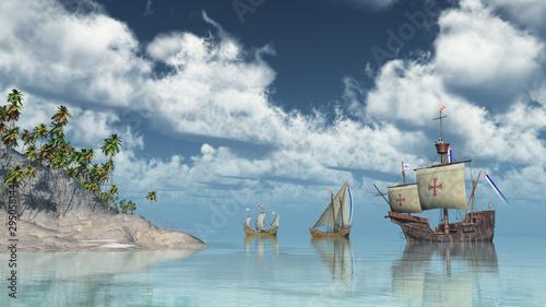 Fotografía  Santa Maria, Nina und Pinta von Christoph Columbus vor einer Insel