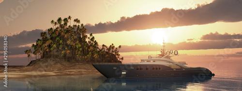 Pinturas sobre lienzo  Luxusyacht und tropische Insel bei Sonnenuntergang