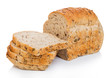 Leinwandbild Motiv Cut of fresh loaf of seeded bread on white background. Traditional bakery heritage.