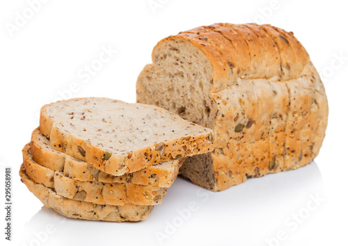 Cut of fresh loaf of seeded bread on white background Fototapeta