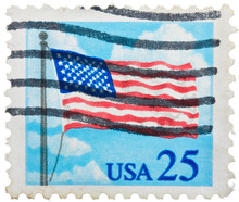 USA - CIRCA 1985: A Stamp Printed In The USA Shows Flag Over Capitol