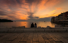 Sunset For Two. Sunset In Rovinj. Croatia.