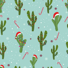 Cactus With Colorful Light Bulb. Santa Claus Hat And Candies. Merry Christmas And Happy New Year Seamless Pattern