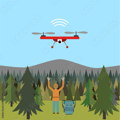 A drone searching to find and localize missing people. Use Case for UAV technology. Vector Illustration. Wall mural