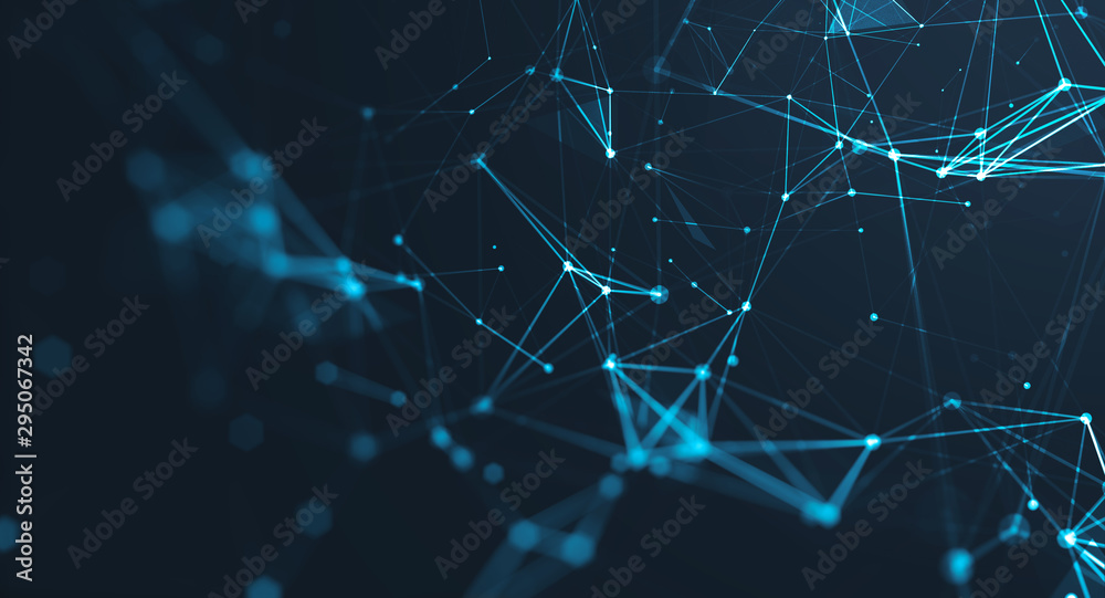 Fototapeta Abstract polygonal space low poly dark background with connecting dots and lines. Connection structure. Science background. Futuristic polygonal background. Triangular background. Wallpaper. Business