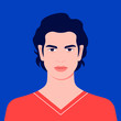 Portrait of a man. Avatar of a guy for social network. Colorful portrait. Student of the university. Vector flat illustration
