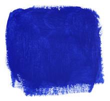 Blue Block Of Gouache Paint Brush Isolated On White Background