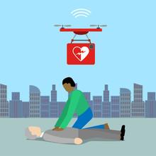 Drone Bringing A Defibrillator...