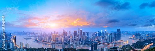 Montage in der Fensternische Blau Sunset cityscape skyline panorama in Chongqing