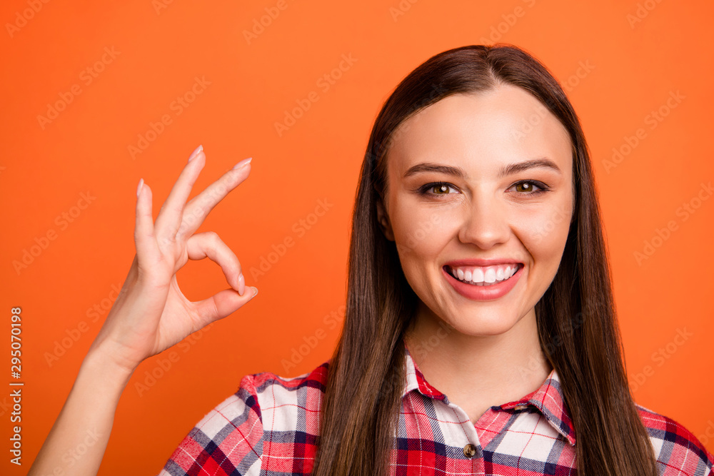 Fototapety, obrazy: Close-up portrait of her she nice attractive lovely cheerful cheery content straight-haired girl freelancer showing ok-sign isolated on bright vivid shine vibrant orange color background