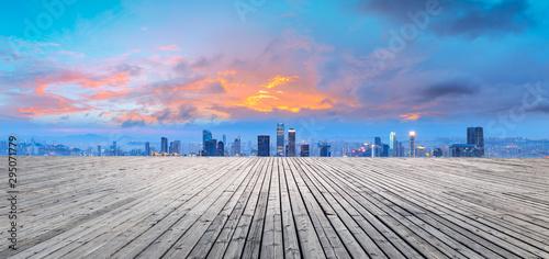 Foto auf Gartenposter Dunkelgrau Square platform and urban architectural landscape skyline in Chongqing