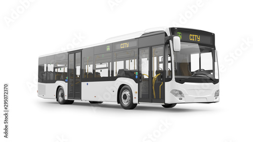 City Bus 3D Rendering Isolated on White Background Wallpaper Mural