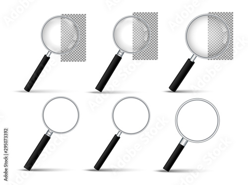 Photographie Realistic Magnifying glass vector icon
