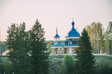 Russian Church With Blue Roof