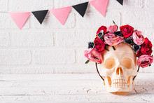 Skull With Wreath Of Pink Flow...