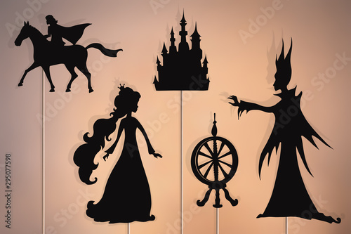 Photo Sleeping Beauty storytelling, shadow puppets.