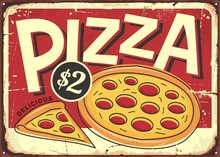 Cartoon Style Pizzeria Sign Wi...