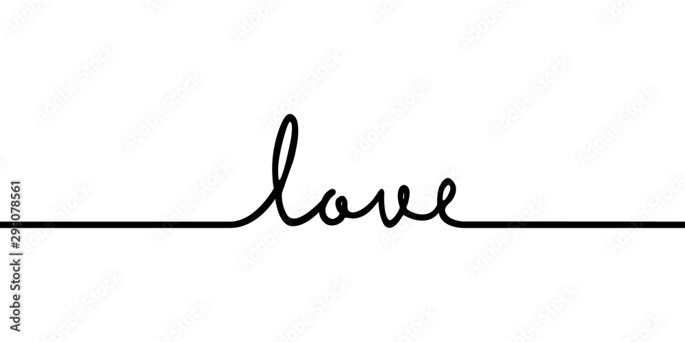 Fototapeta Love - continuous one black line with word. Minimalistic drawing of phrase illustration