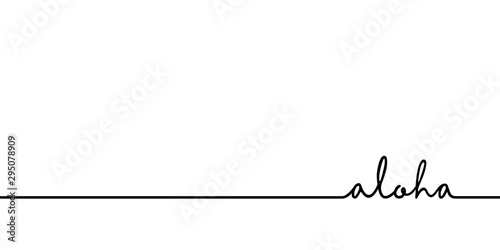Aloha - continuous one black line with word Canvas Print
