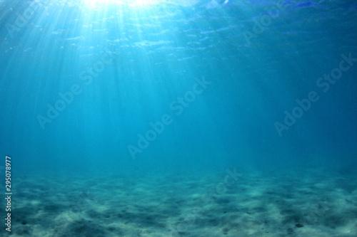 Fototapeta Underwater background of clear blue water on sandy sea floor obraz