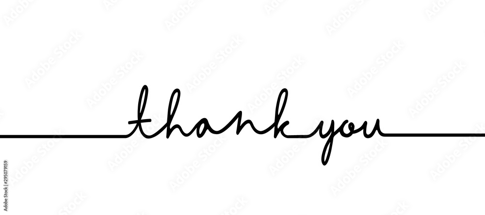 Fototapeta Thank you - continuous one black line with word. Minimalistic drawing of phrase illustration