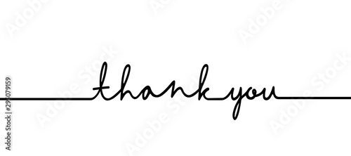 Fototapeta Thank you - continuous one black line with word