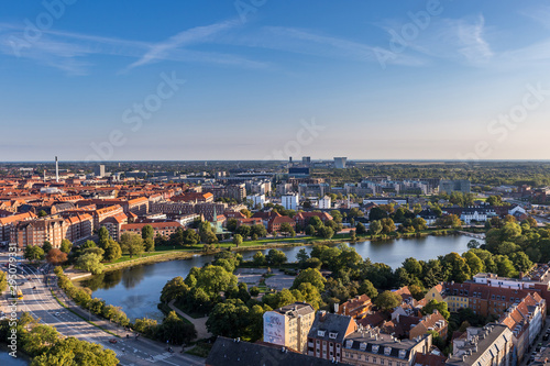 Panorama of Aerial View of Copenhagen in Summer, Denmark, Europe