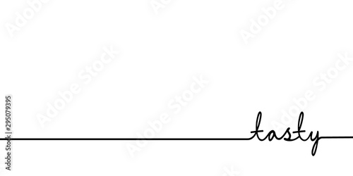 Tasty - continuous one black line with word Canvas Print